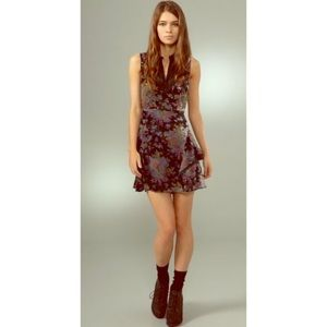 Free People Falling Leaves Velvet Burnout Dress